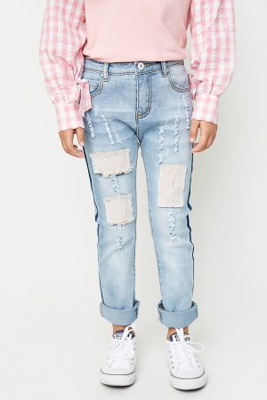 Distressed patchwork jean