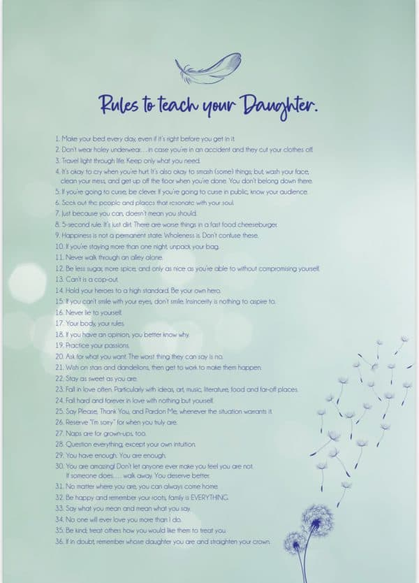 rules to teach your daughter green